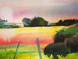 September Field, Watercolour Sketch