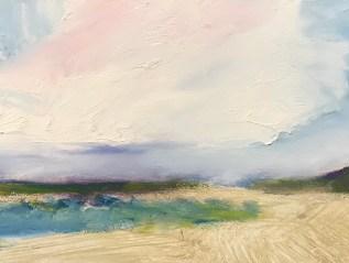 Cornish Clouds, Rock,  Daymer, Oil on Board.