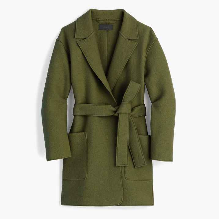 Tall wrap coat in boiled wool