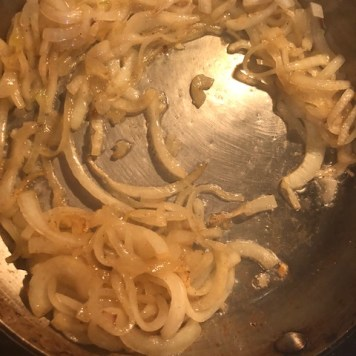 beginning stages of the onion caramelization
