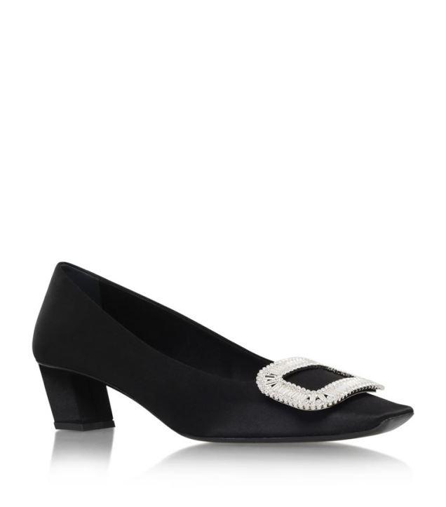 satin black heel