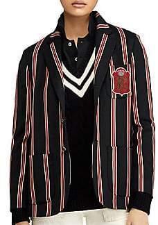 Ralph Lauren black striped crest blazer