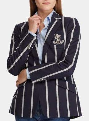 Ralph Lauren navy striped crest blazer