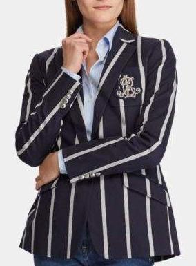 Ralph Lauren navy striped crest blazer