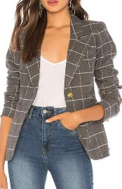 Smythe gray windowpane elbow patch blazer