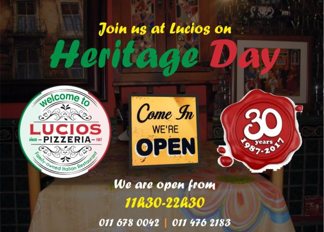 Lucios Heritage Day, Lucios Pizza, Best Pizza, Near Me, Blackheath, Cresta, Restaurants in Randburg, #inrandburg