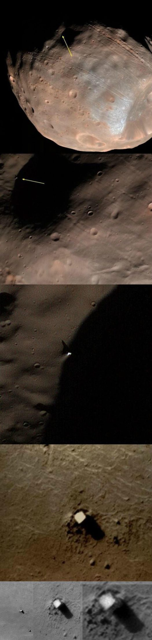 High Resolution imagery of the monolith on the planet Phobos