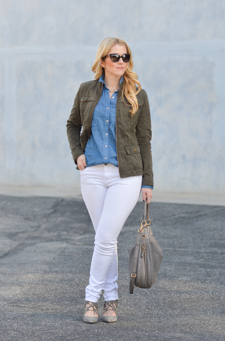 California Tailored Blue Shirt | White Jeans Outfit in Winter