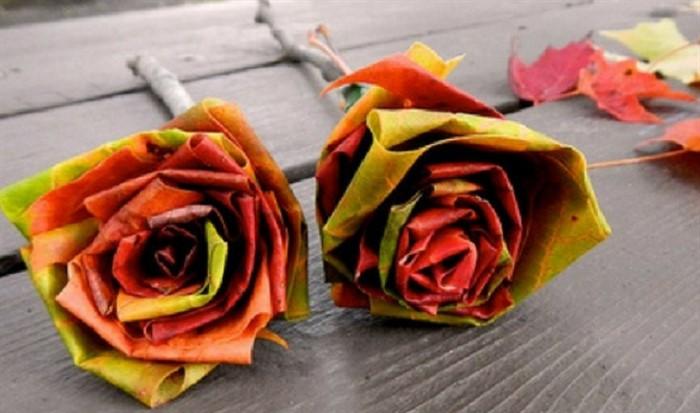 2-80 Как сделать цветы из листьев руками. Розы из кленовых листьев своими руками пошагово