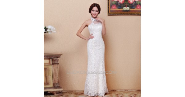 Trumpet/Mermaid Halter Lace Bridal Wedding Dresses WD010515