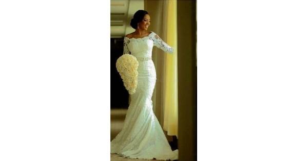 Elegant Mermaid 3/4 Length Sleeves Lace Plus Size Wedding