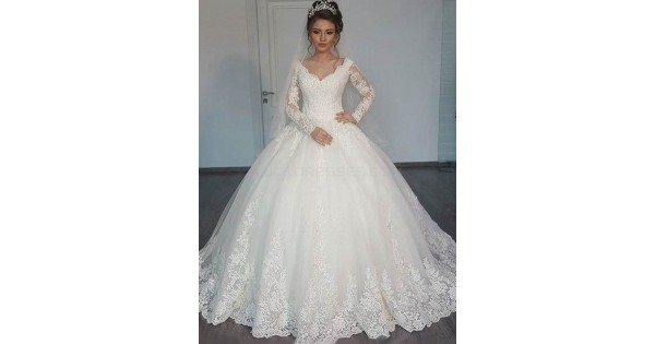 Bridal Ball Gown V-Neck Lace Long Sleeves Wedding Dresses