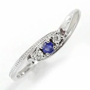Alma サファイアリング 9月 誕生石 トリロジー プラチナ 指輪