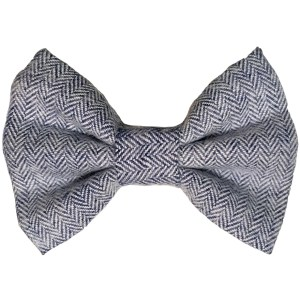 navy and white herringbone dog bowtie