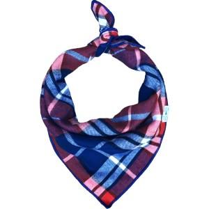 Luck of tuck blue and orange plaid dog bandana