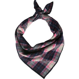 navy and pink plaid flannel dog bandana