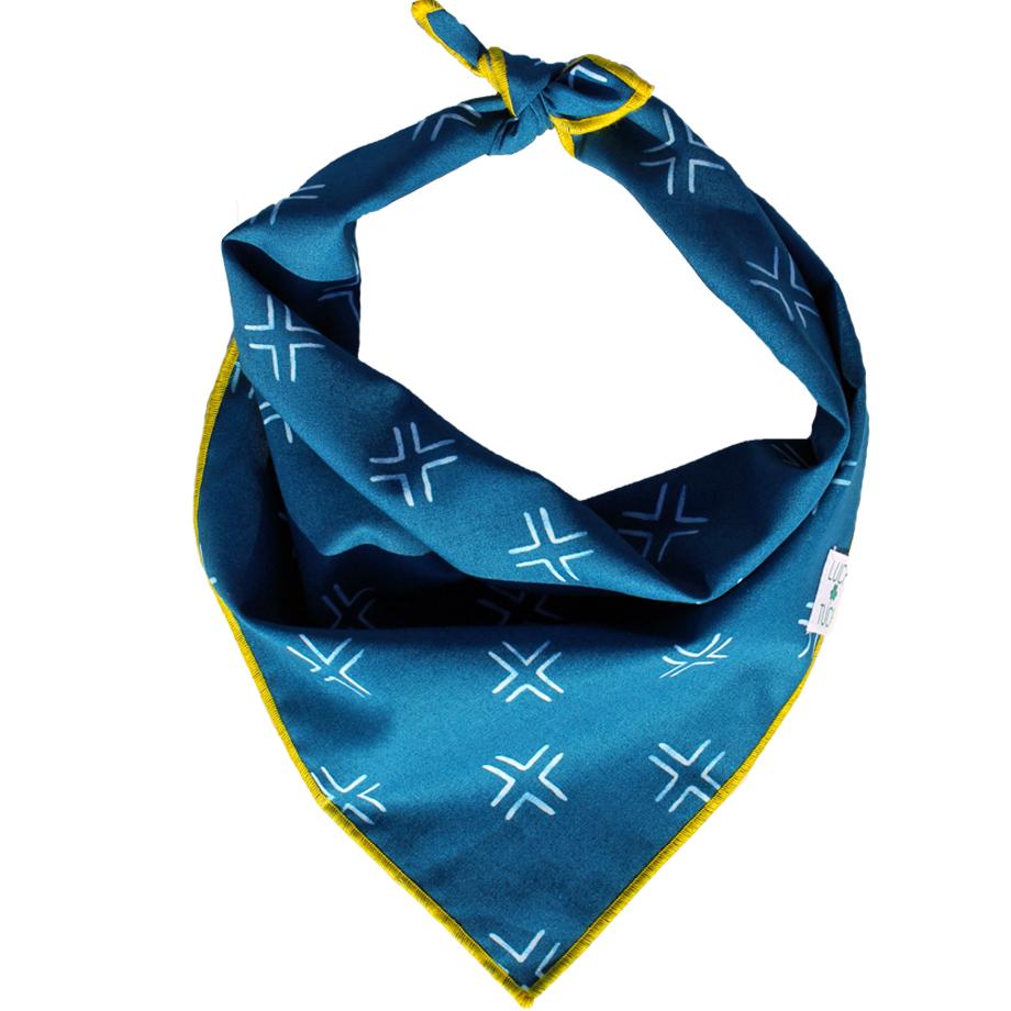 blue luck of tuck dog bandana for adventure