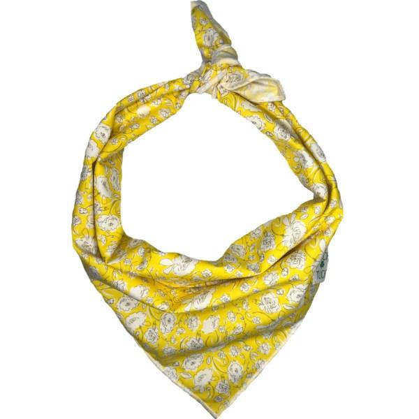 yellow dog bandana with white flowers