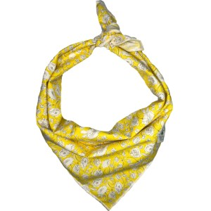 yellow dog bandana with white flowers