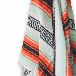 ORANGE AND MINT MEXICAN THROW BLANKET