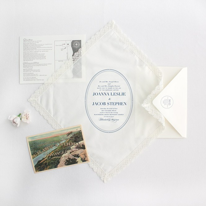 Lucky Luxe French Handkerchief Fabric Wedding Invitation Amelie