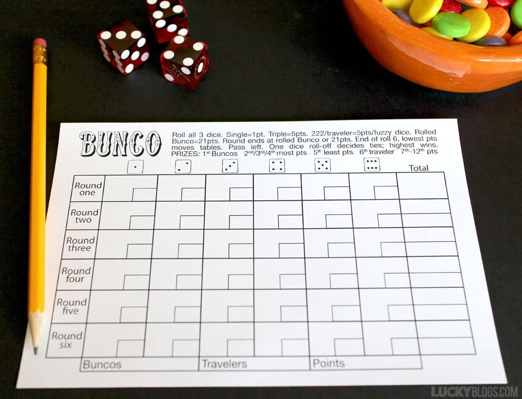 Genius Free Printable Bunco Table Tally Sheets