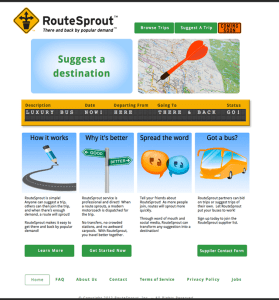 illustrations of map marked with dart, pen drawing a highway, street signs, dialogue balloons, and a bus: the homepage of RouteSprout, a startup