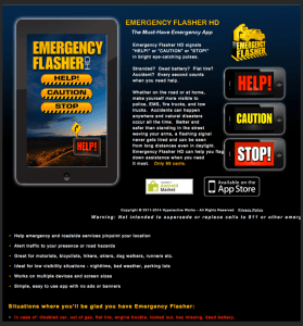 website for Emergency Flasher HD by Hyperactive Works