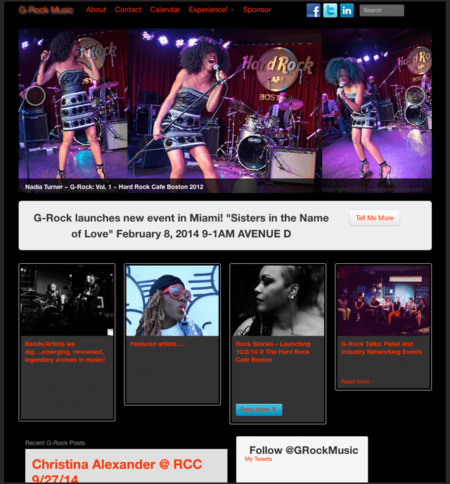 website homepage photos of women singing at Hard Rock Cafe in Boston on the website of G-Rock Music
