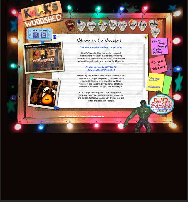homepage of Kulak's Woodshed powered by Lucky Cat Creative