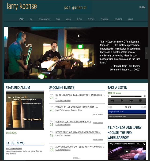 Larry Koonse website, jazz guitarist powered by Lucky Cat Creative