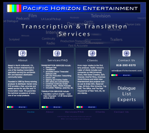 logo and homepage art for Pacific Horizon Entertainment website