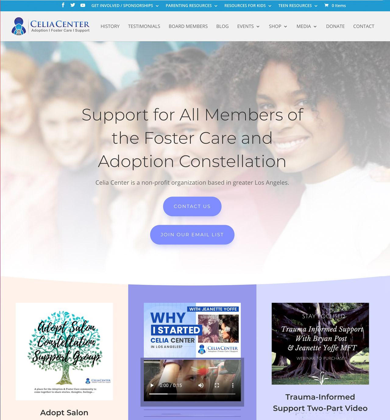 Homepage of Celia Center, Inc. - Support for All Members of the Foster Care and Adoption Constellation.