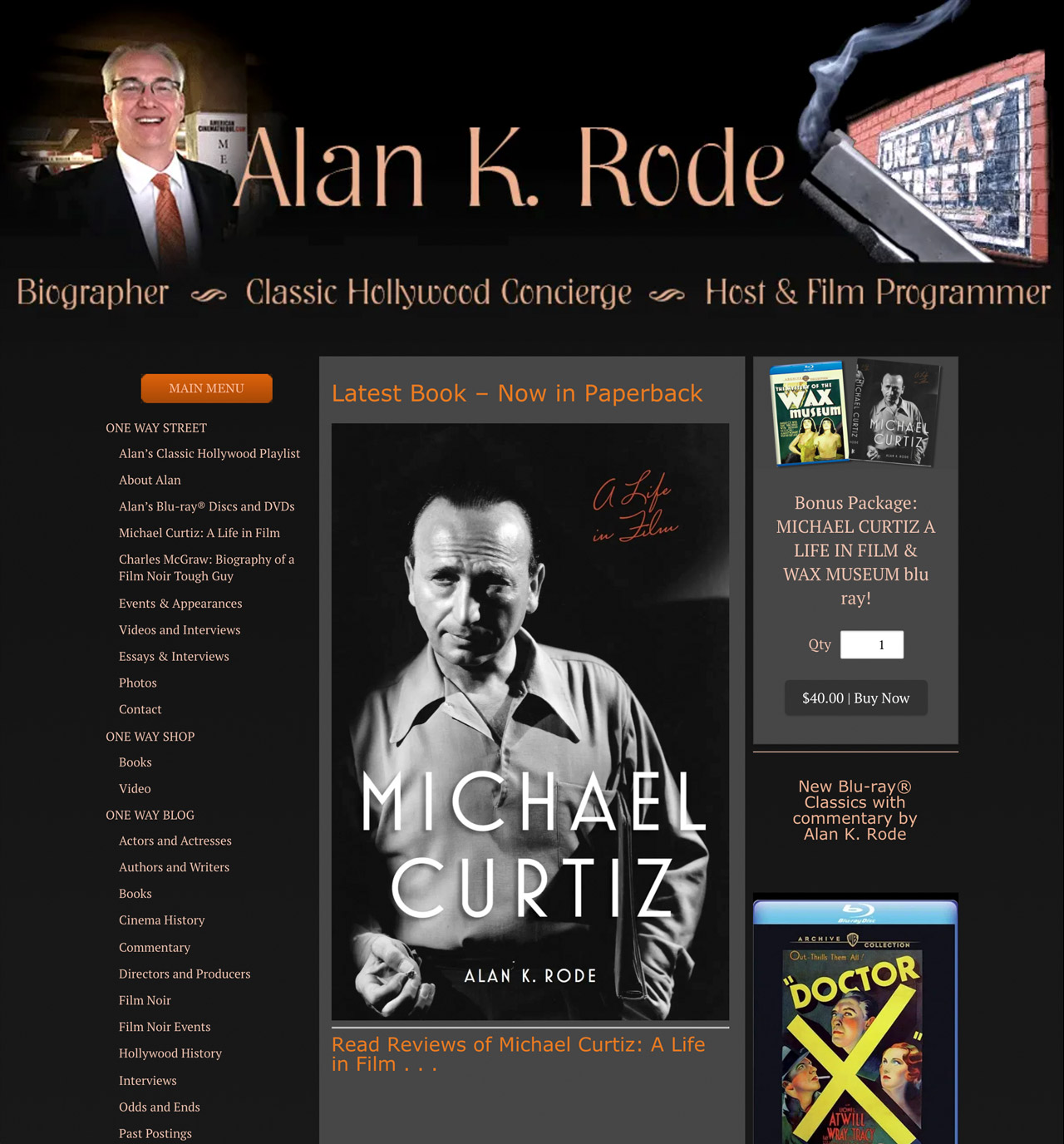 Alan K. Rode smiling on homepage of his website that features hardcover biography of Michael Curtiz written by Alan K. Rode.