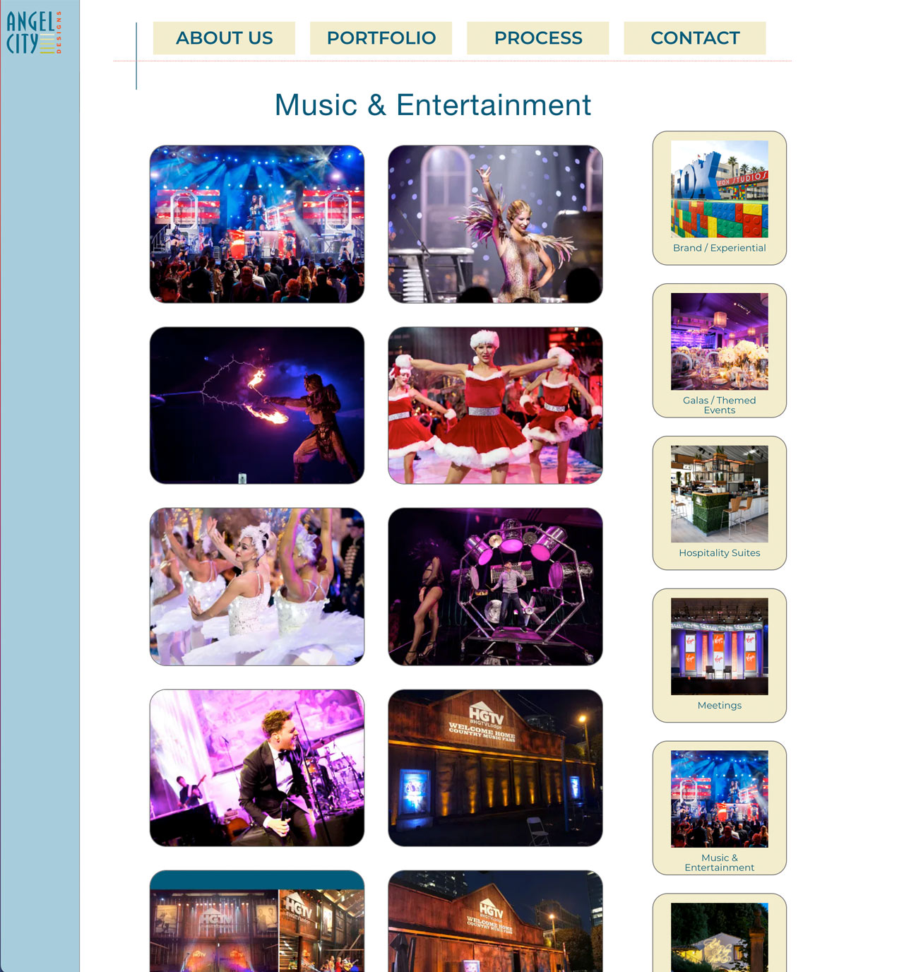 Collage of special event photos showing colorful exotically decorated part events featuring performers on Angel City Designs website