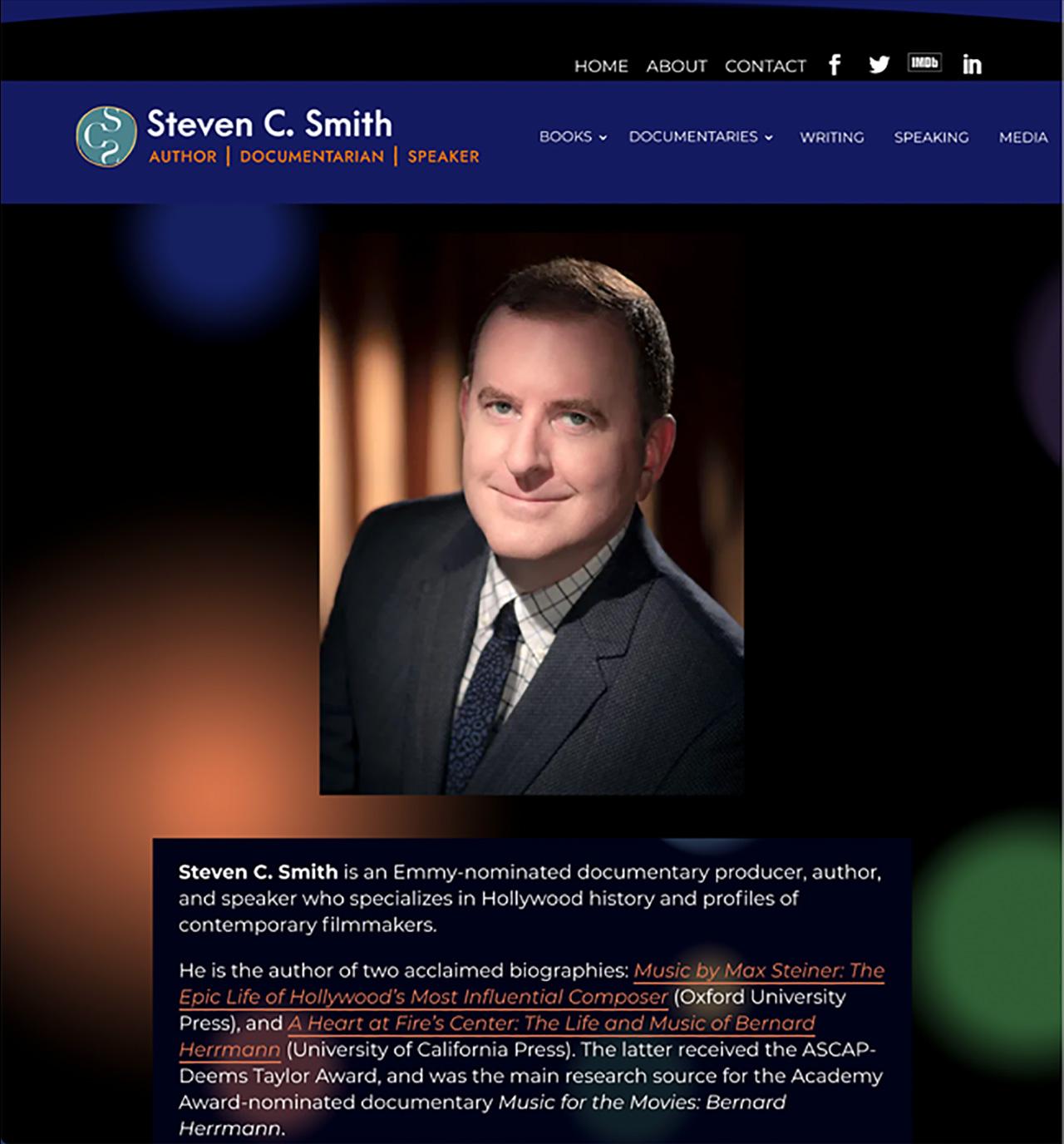 Steven C. Smith portrait photo on his website's homepage.