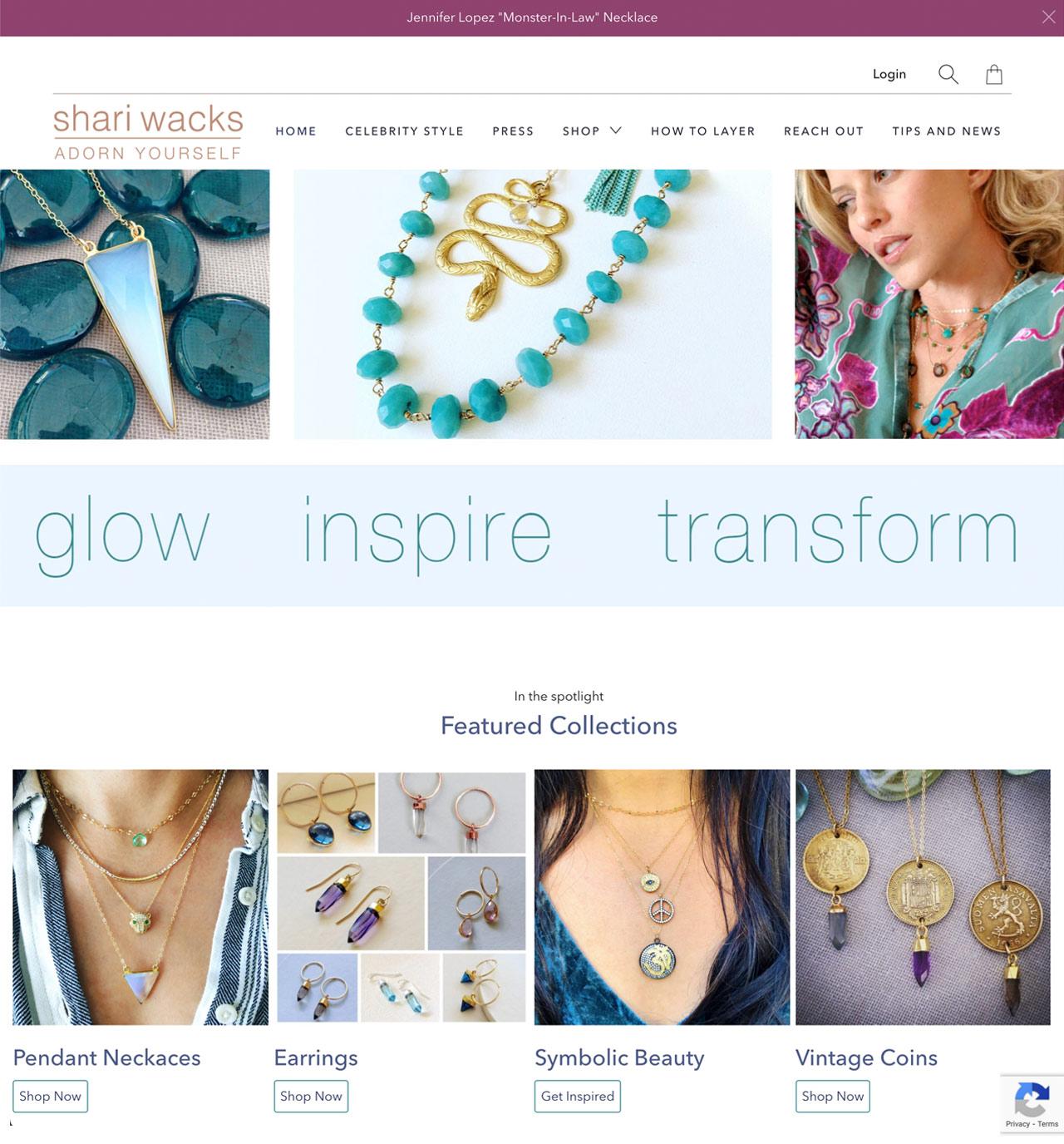 Rows of necklaces on Shari Wacks website.