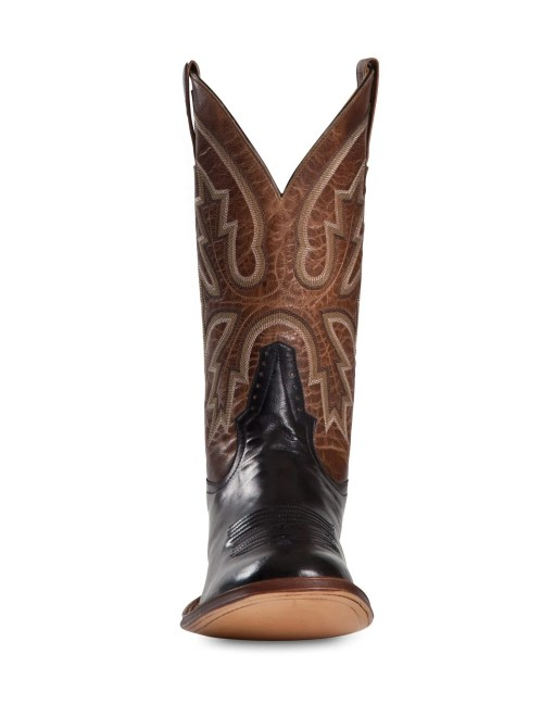Rod Patrick Brown Goat with Black Calf Round Toe Boot RPM126