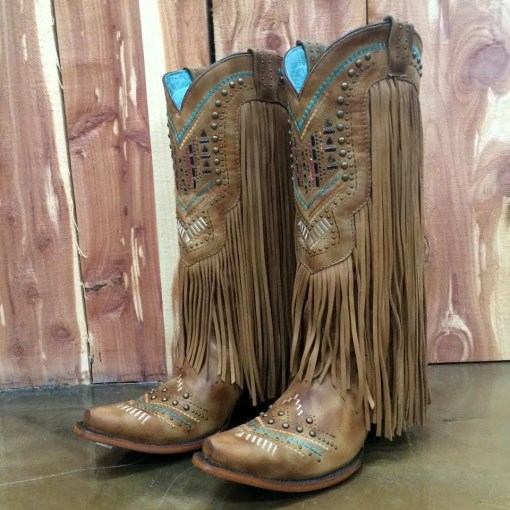 Corral Tan Multi Color Crystal Fringe Boots C2910