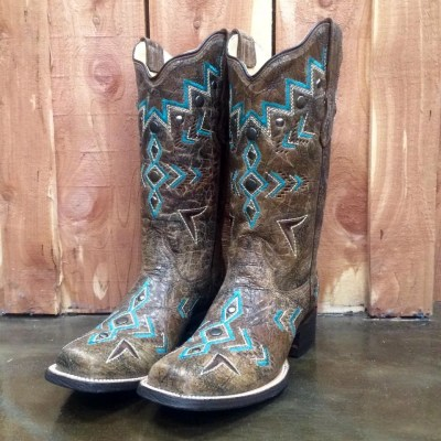 Corral Bronze & Turquoise Aztec Square Toe Boot E1024