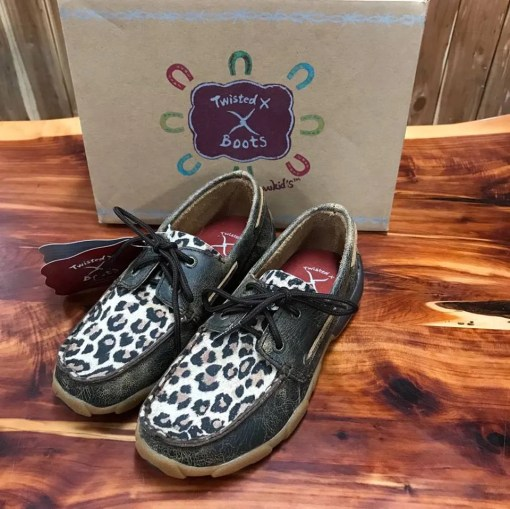 Kid's Twisted X Distressed Leopard Driving Mocs YDM0028