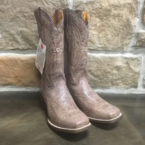 Girl's Corral Brown with Embroidery Square Toe Boot E1156