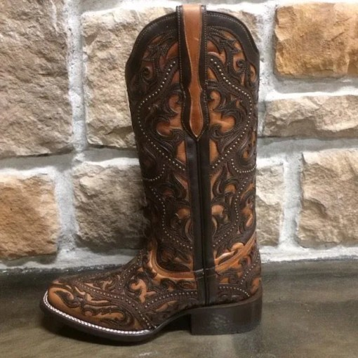 Ladies Corral Brown Overlay & Studs Boot G1330