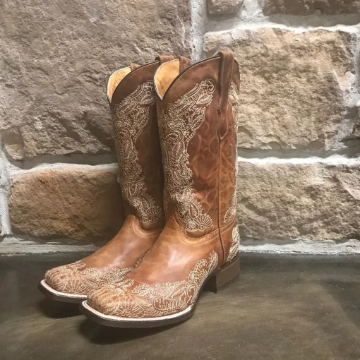 Girls Corral Brown Leather Square Toe Boots E1141