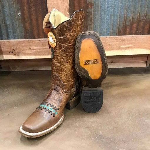 Corral Sand Color Woven Cowgirl Boot A3294
