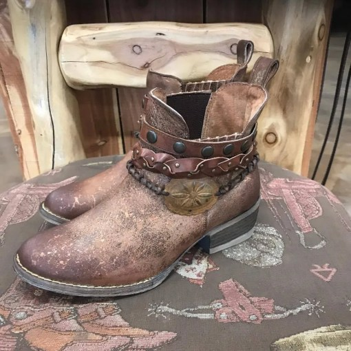 Ladies Brown Harness and Stud Ankle Bootie Q5003