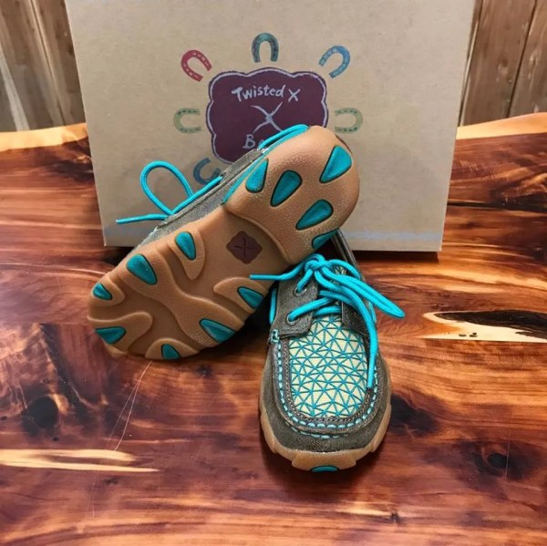 Kid's Twisted X Turquoise Driving Mocs YDM0033