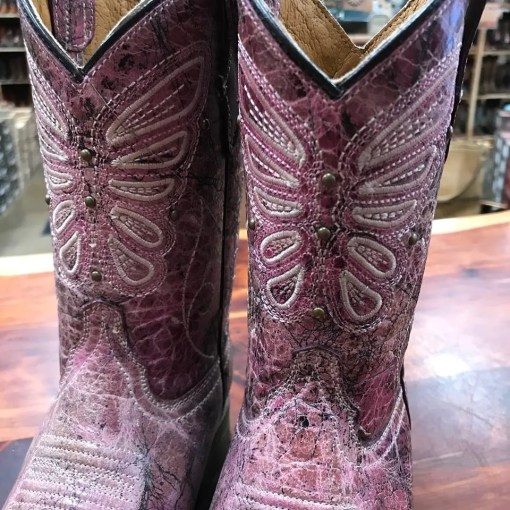 Corral Kids Pink Butterfly Embroidery Boot E1259