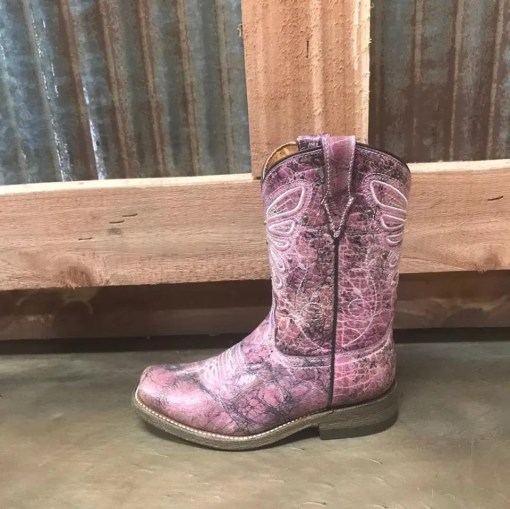 Kid's Corral Pink Butterfly Embroidery Boot E1259