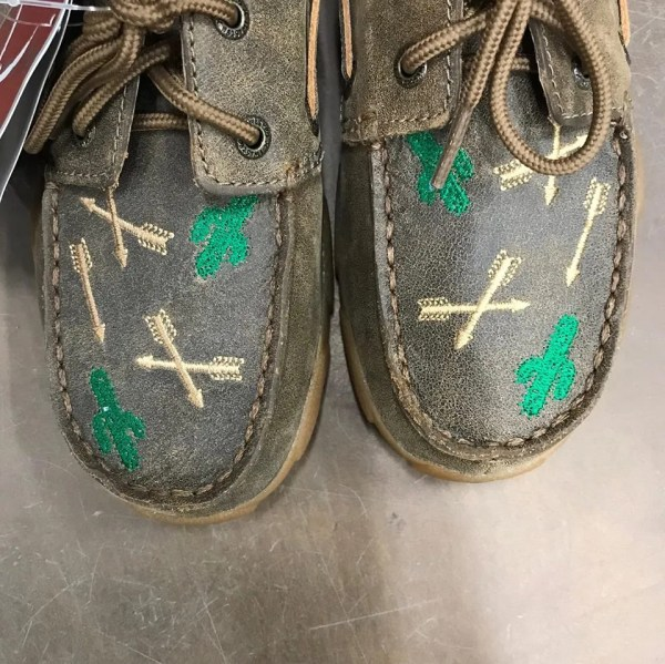 Twisted X Kids Driving Moccasins Bomber Cactus & Arrows YDM0035